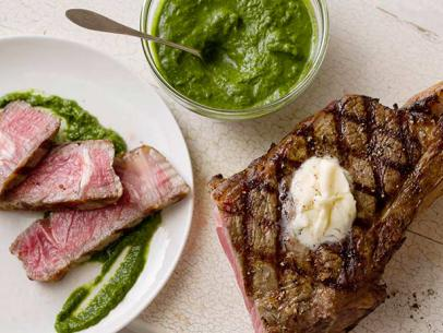 Grilled Rib Eye Steak with Romaine Marmalade and Watercress