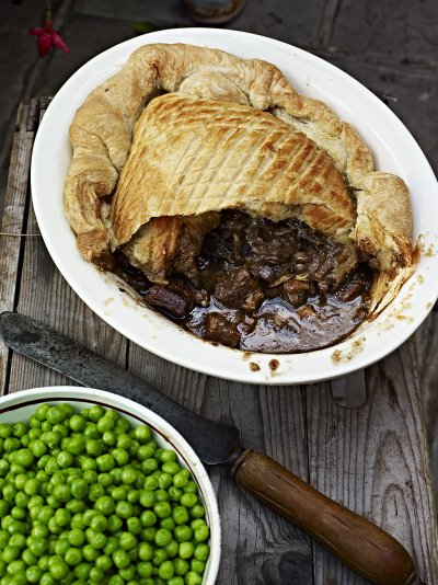 Steak, Guinness and cheese pie with a puff pastry lid
