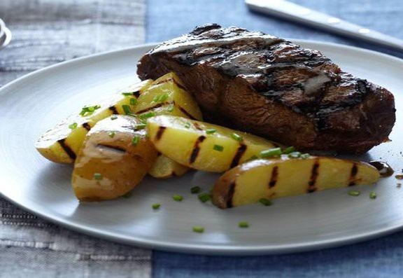 Whiskey Glazed Flat Iron Steaks and Grilled Potatoes