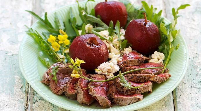 Fillet Steak with Apples Poached in Red Wine